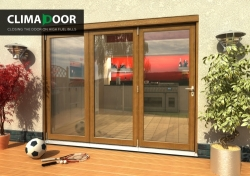 Elite Oak Bifold Doors 2700mm (9 Ft): 54mm fully finished folding sliding doorset Image