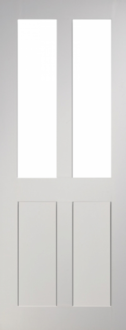 Eton Glazed 4 Panel White Primed Door Image