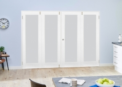 Frosted Glazed White Primed Shaker 4 Door Frenchfold (4 X 2