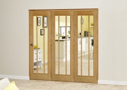 Lincoln Oak 3 Door Roomfold Deluxe (3 X 610mm Doors): Unfinished Oak Interior Bifold door system Image