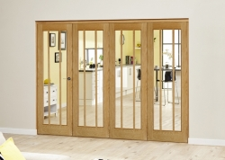 Lincoln Oak 4 Door Roomfold Deluxe (4 X 686mm Doors): Unfinished Oak Interior Bifold door system Image