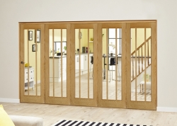 Lincoln Oak 5 Door Roomfold Deluxe (5 X 686mm Doors): Unfinished Oak Interior Bifold door system Image