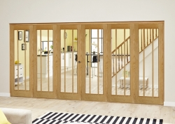 Lincoln Oak 6 Door Roomfold Deluxe (3 + 3 X 610mm Doors): Unfinished Oak Interior Bifold door system Image