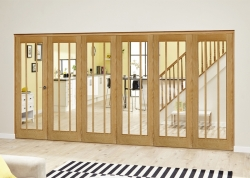 Lincoln Oak 6 Door Roomfold Deluxe (5 + 1 X 686mm Doors): Unfinished Oak Interior Bifold door system Image