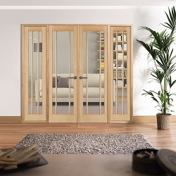 Lincoln Oak Internal Room Divider Range: Internal French doors with sidelight options Image