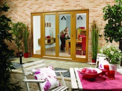 LPD NuVu 2400mm (8ft) Oak French Doors With Sidelights: 44mm Unfinished French Doorset Image