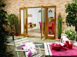 LPD NuVu 2700mm (9ft) Oak French Doors With Sidelights: 44mm Unfinished French Doorset Image