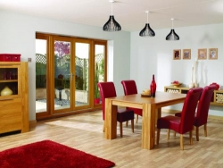 LPD NuVu Oak - 3000mm (10ft) Patio Doors With Sidelights: 44mm Fully Finished Doorsets Image