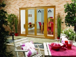 LPD NuVu Oak 2400mm (8ft) Patio Doors With Sidelights: 44mm Fully Finished Doorsets Image