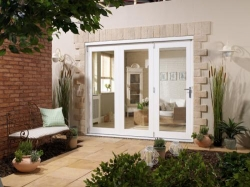 NuVu 2400mm (8ft) White Folding Patio Door: 44mm Fully Finished Doorset Image