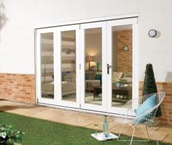 Lpd nuvu white folding patio doors from vibrant doors for 10 foot sliding patio door