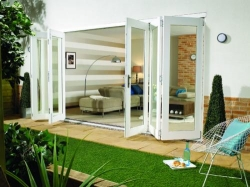 NuVu 4800mm (16ft) White Folding Patio Door: 44mm Fully Finished Doorset Image