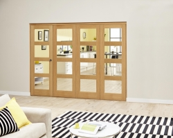 Oak 4L Roomfold Deluxe - Clear: Unfinished Interior Folding Door Image