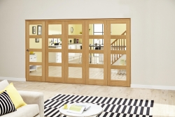 Oak 4L Roomfold Deluxe - Clear Prefinished: Prefinished Internal Bifold doors Image