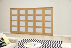Oak 4L Roomfold Deluxe - Frosted: Unfinished Internal Folding Door Image