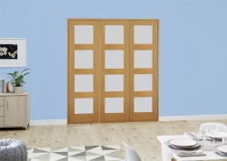 Oak 4L Shaker Frenchfold - Frosted Unfinished: Frosted Glazed Room Divider Door Image