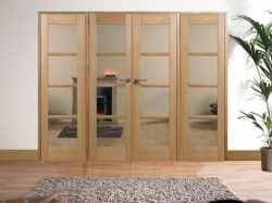 Oak Oslo Prefinished Room Divider Range: Internal French doors with sidelight options Image