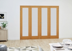 Prefinished Frosted Glazed Oak Frenchfold Room Divider:  Pre finished Oak Room Divider Door Image