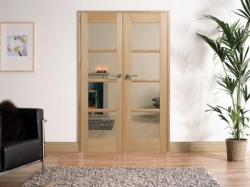 Oak Oslo W4 : Internal French doors with sidelight options Image