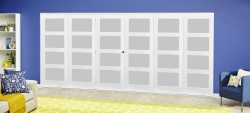 White 4L Frosted Roomfold Deluxe ( 3 + 3 X 610mm Doors ): White primed Interior folding doors Image