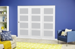 White 4L Frosted Roomfold Deluxe ( 3 X 610mm Doors ): White primed Interior folding doors Image