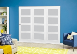 White 4L Frosted Roomfold Deluxe ( 3 X 762mm Doors ): White primed Interior folding doors Image