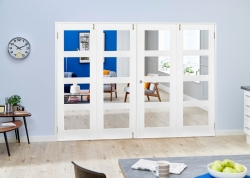 White 4L Shaker Frenchfold - Clear: White Primed Clear Glazed Room Divider Door Image