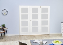 White 4L Shaker Frenchfold - Frosted: White Primed Frosted Glass Room Divider Door Image