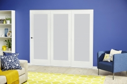 White P10 Frosted Roomfold Deluxe ( 3 X 533mm Doors ): White Primed Interior bifold door Image