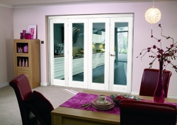 Glazed White P10 Roomfold - Clear Glass: Interior Folding Door Image