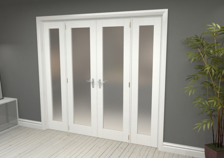 2170x2031 Glazed White Primed Internal French Doors With Frame Set