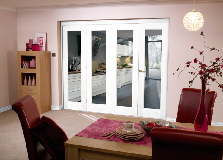 2370 x 2078mm white bifold 4 door system 2400mm 8ft for Internal folding doors systems
