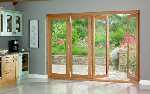 Oak folding patio doors