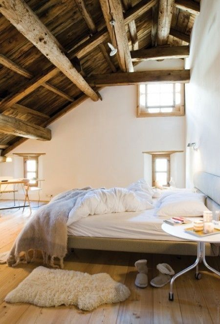 Bedroom loft conversion with beams