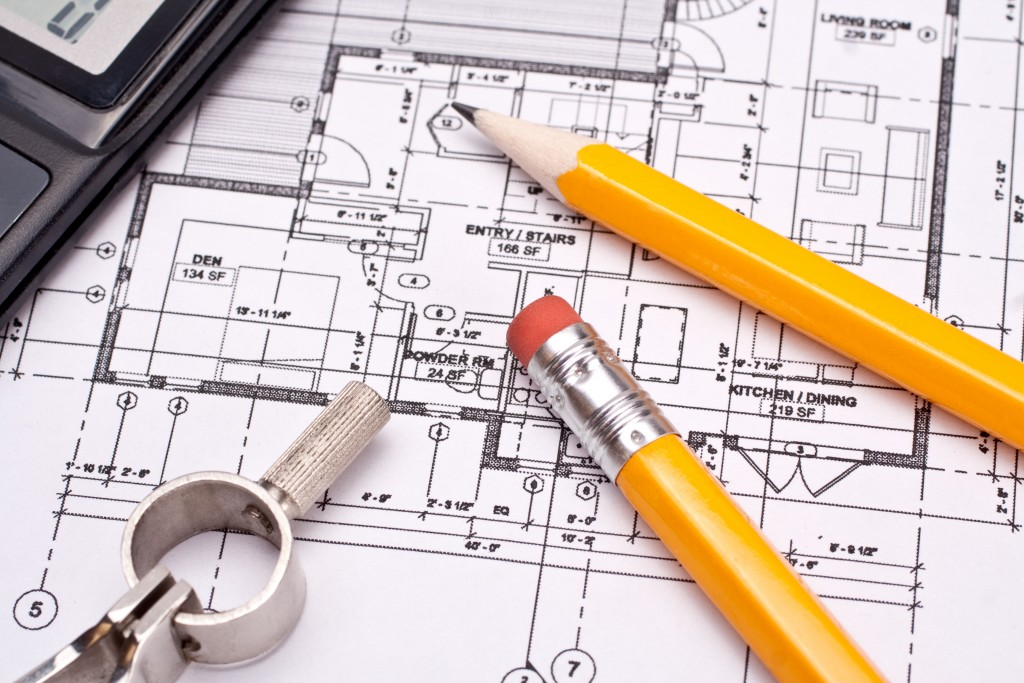 Engineering and architecture drawings with pencil