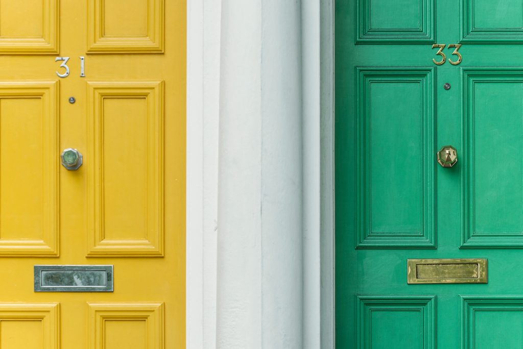 yellow door and green door