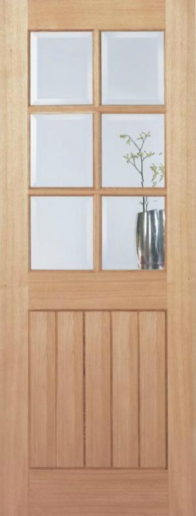 wooden door with 6 door lites