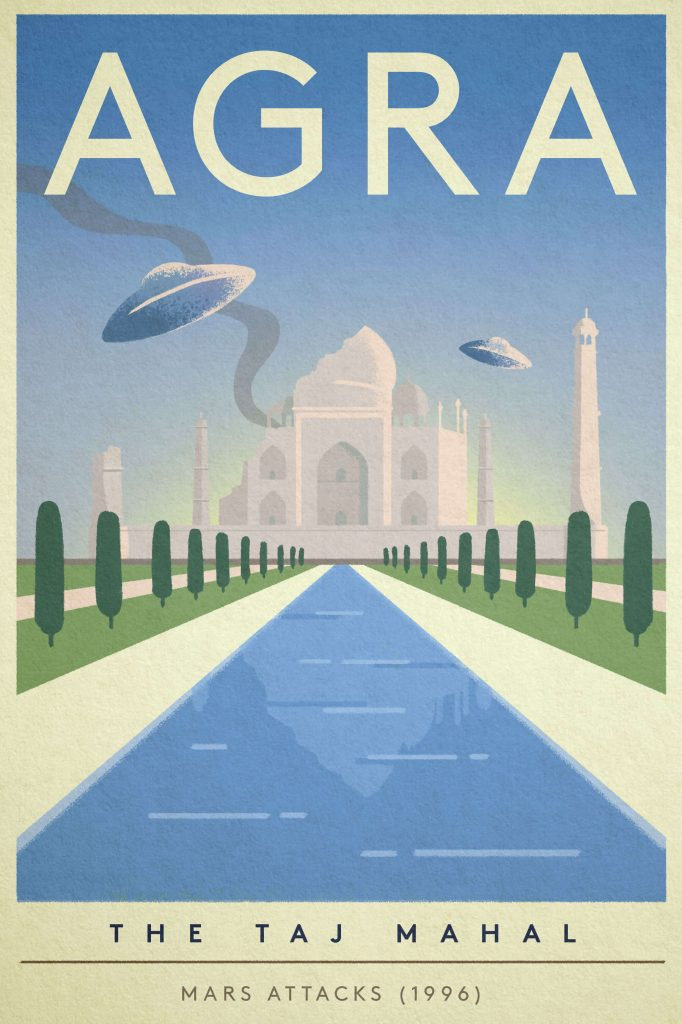 "Poster of the Taj Mahal destroyed by Martians in ""Mars Attacks"""