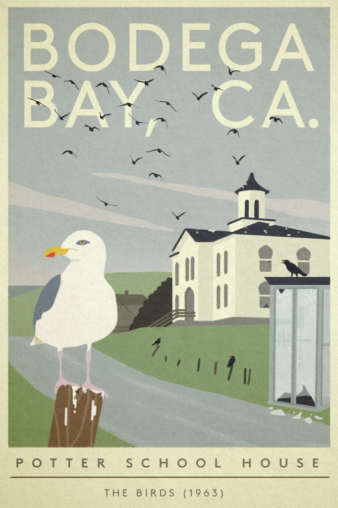 "Poster of Bodega Bay destroyed by birds from ""The Birds"""