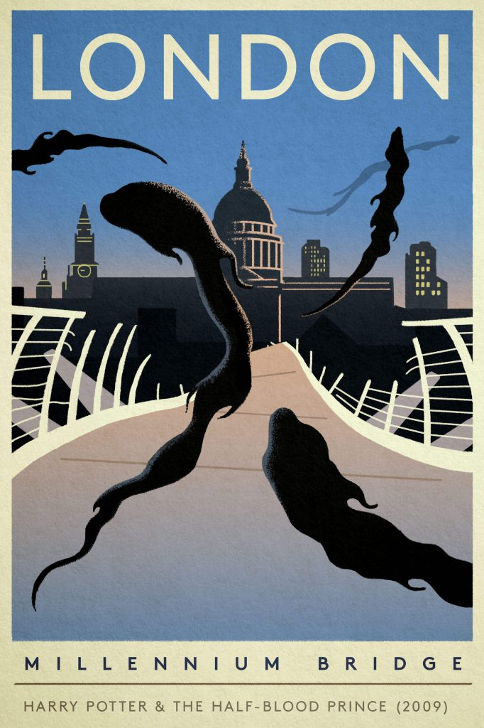 "Poster of the Millennium Bridge destroyed by Dementors from ""Harry Potter and the Half Blood Prince"""