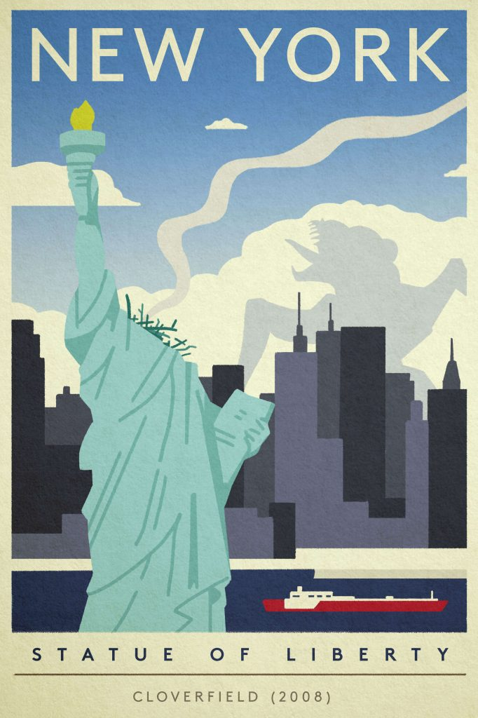 "Poster of the Statue of Liberty destroyed by the monster from ""Cloverfield"""