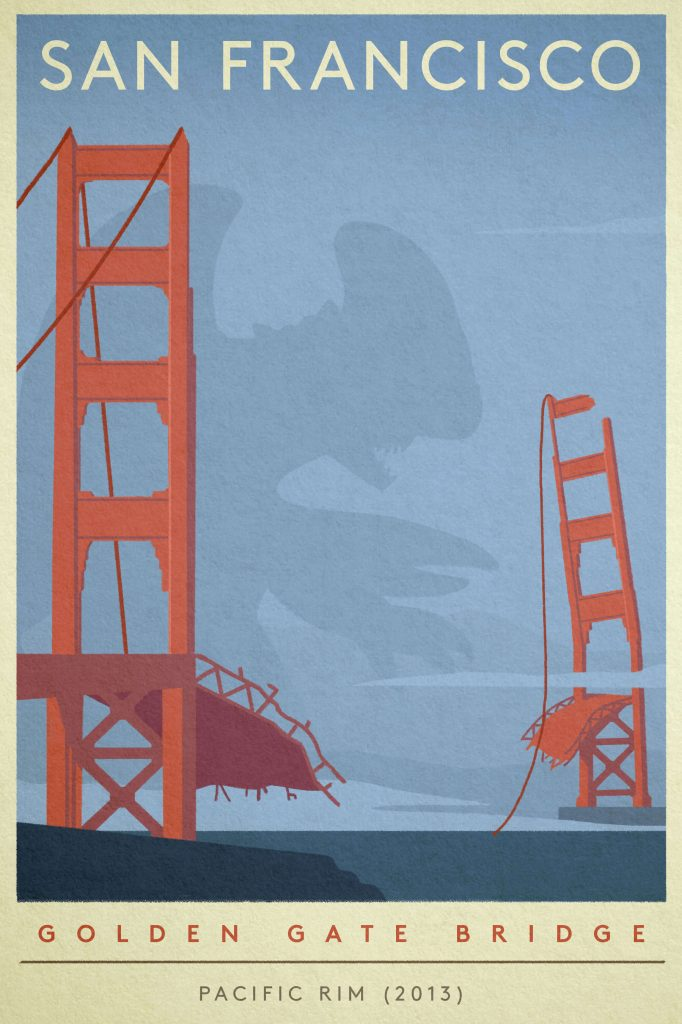 "Poster of the Golden Gate Bridge destroyed by the monsters from ""Pacific Rim"""
