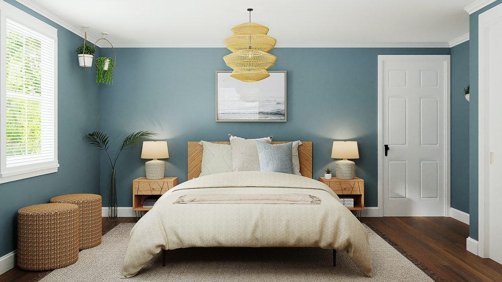 Bedroom interior with double bed and bedside tables