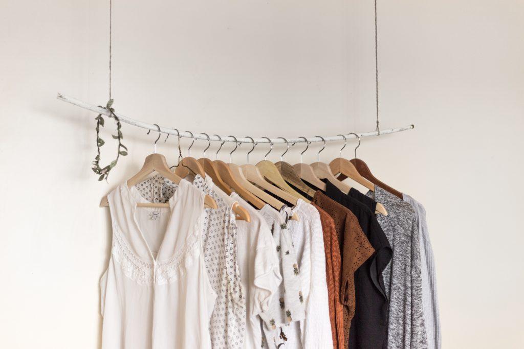Clothing hanging on rail