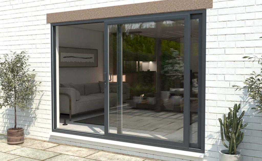Anthracite grey aluminium sliding patio doors