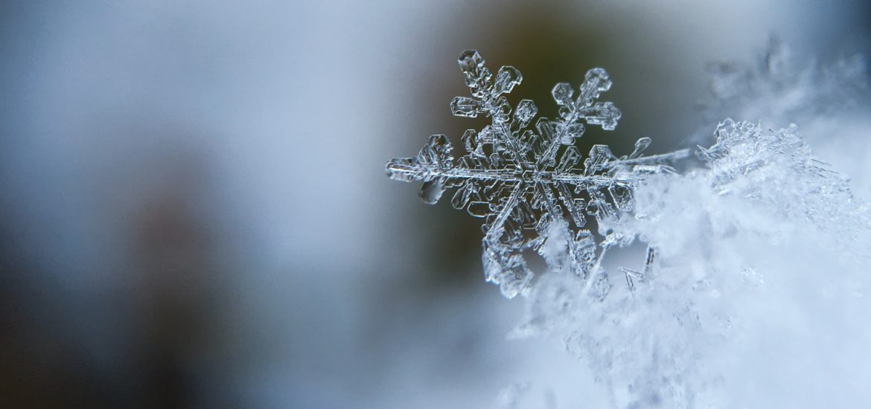 Close-up photograph of a snowflake