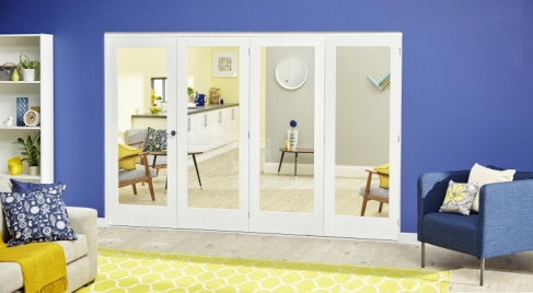 Glazed White Roomfold Deluxe - Clear Glass: White primed Interior Folding Door Image
