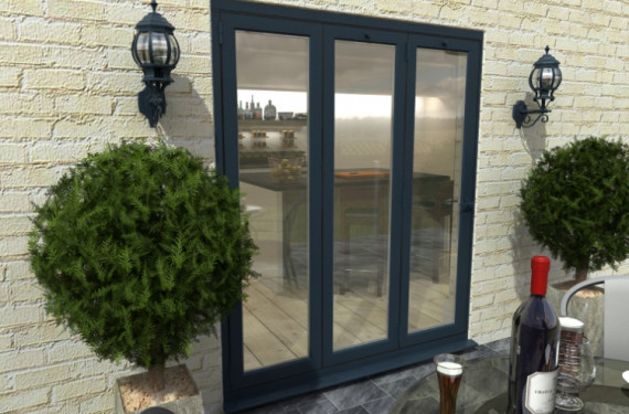 1800mm Grey Aluminium Bifold Door - Climadoor