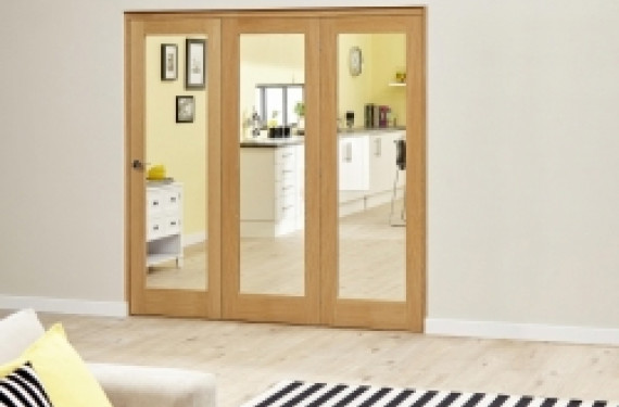 Glazed Oak - 3 Door Roomfold Deluxe ( 3 X 573mm Doors 1800mm Set )
