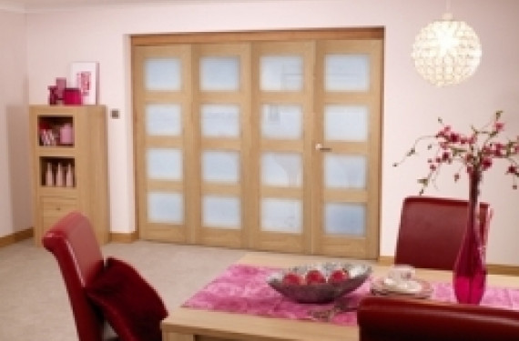 Oak Prefinished 4l Interior Bifold Door (2400mm - 8ft) Frosted